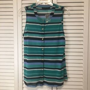 The limited sheer striped button down tank